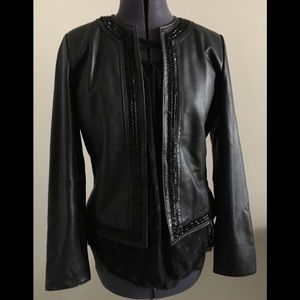 Chico's leather and beaded jacket